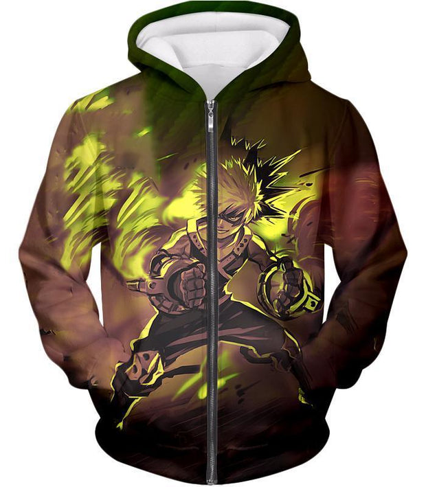OtakuForm-OP T-Shirt Zip Up Hoodie / XXS My Hero Academia Explosive Hero Katsuki Bakugo Action T-Shirt - Anime T-Shirt