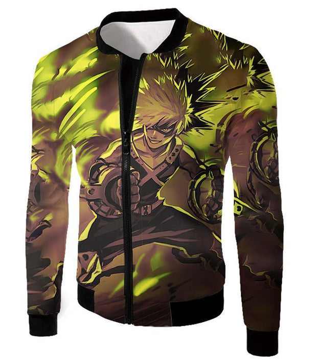 OtakuForm-OP Zip Up Hoodie Jacket / XXS My Hero Academia Explosive Hero Katsuki Bakugo Action Zip Up Hoodie - Anime Hoodie