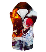 OtakuForm-OP Hoodie Hooded Tank Top / XXS My Hero Academia Hoodie - My Hero Academia Super Anime Hero Shoto Todoroki Quirk Half Cold Half Hot Action Hoodie