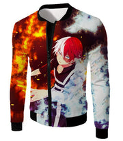 OtakuForm-OP Hoodie Jacket / XXS My Hero Academia Hoodie - My Hero Academia Super Anime Hero Shoto Todoroki Quirk Half Cold Half Hot Action Hoodie
