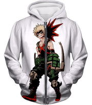 OtakuForm-OP Zip Up Hoodie Zip Up Hoodie / XXS My Hero Academia White Katsuki Bakugo My Hero Academia Zip Up Hoodie - Anime Hoodie
