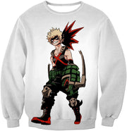 OtakuForm-OP Zip Up Hoodie Sweatshirt / XXS My Hero Academia White Katsuki Bakugo My Hero Academia Zip Up Hoodie - Anime Hoodie
