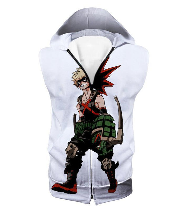 OtakuForm-OP Zip Up Hoodie Hooded Tank Top / XXS My Hero Academia White Katsuki Bakugo My Hero Academia Zip Up Hoodie - Anime Hoodie