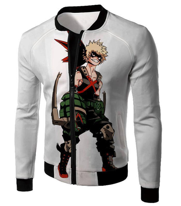 OtakuForm-OP Zip Up Hoodie Jacket / XXS My Hero Academia White Katsuki Bakugo My Hero Academia Zip Up Hoodie - Anime Hoodie
