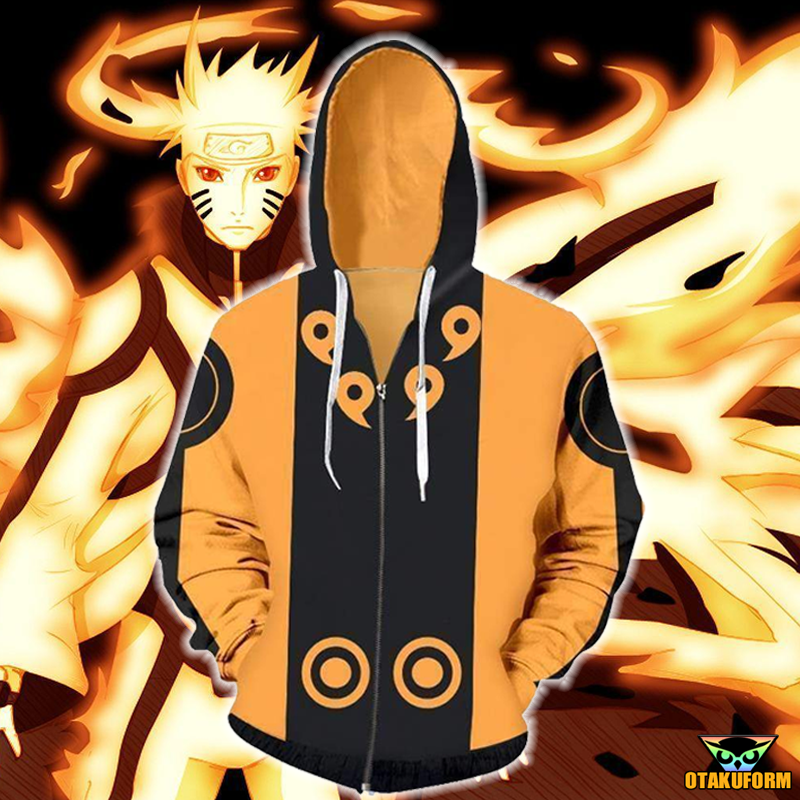 naruto hoodies naruto nine tail chakra mode zip up hoodie jacket otakuform anime hoodies