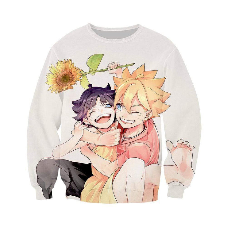Anime Merchandise Sweatshirt M Naruto sweatshirt  - Himawari with Boruto Sweatshirt