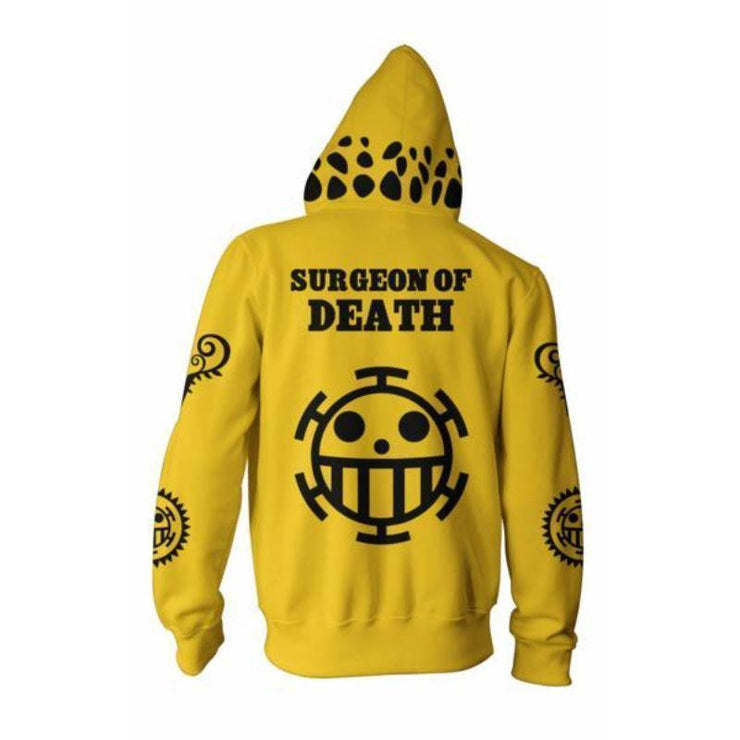 One Piece Zip Up Hoodie XXS One Piece Anime Hoodie - Trafalgar Law Yellow Zip Up Hoodie Jacket