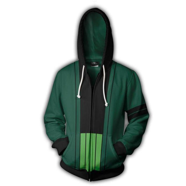 One Piece Zip Up Hoodie XXS One Piece Cosplay Hoodie - Roronoa Zoro Zip Up One Piece Merch Anime Hoodie