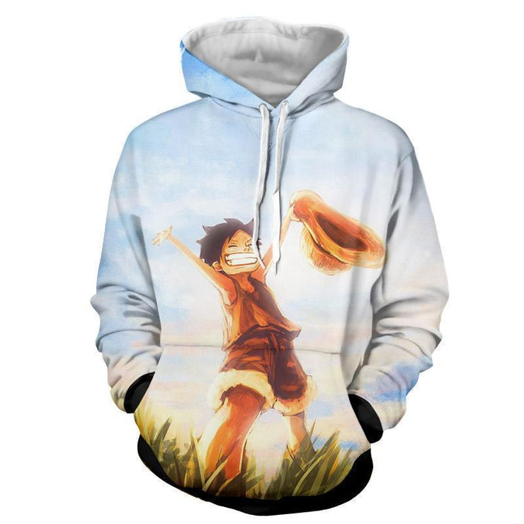 One Piece Free Young Luffy 3D Graphic Hoodie - One Piece Hoodie Jacket - OtakuForm Anime Manga Shop Inc