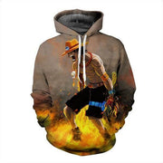 One Piece Hoodie XXS One Piece Hoodies -  Portgas D.Ace 3D Fire Element  Graphic Hoodie