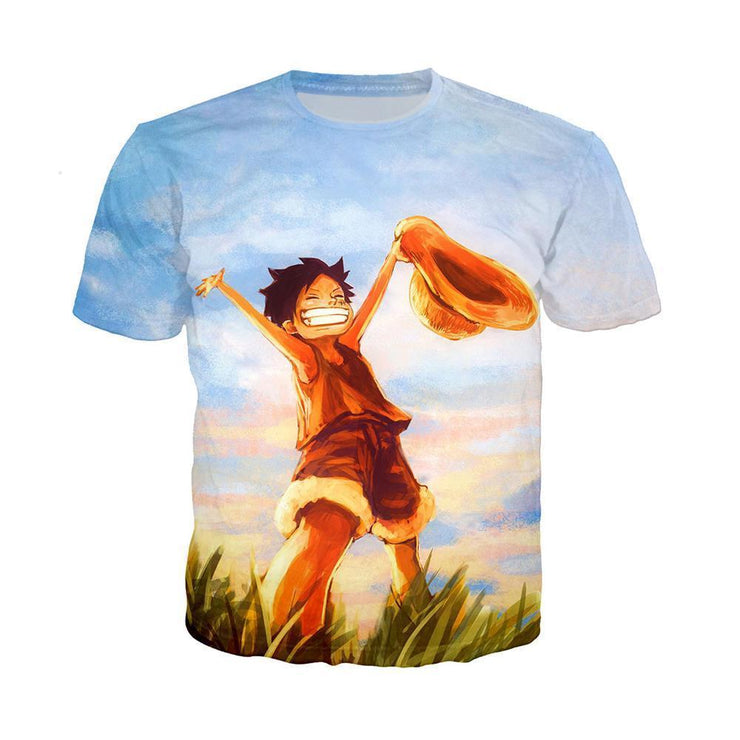 Anime Merchandise T-Shirt M One Piece Shirt featuring Luffy Celebrating T-Shirt