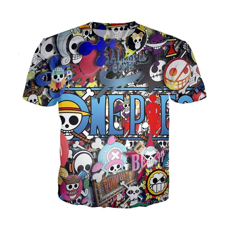 Anime Merchandise T-Shirt M One Piece Shirt - Pirate Crews Collage T-Shirt