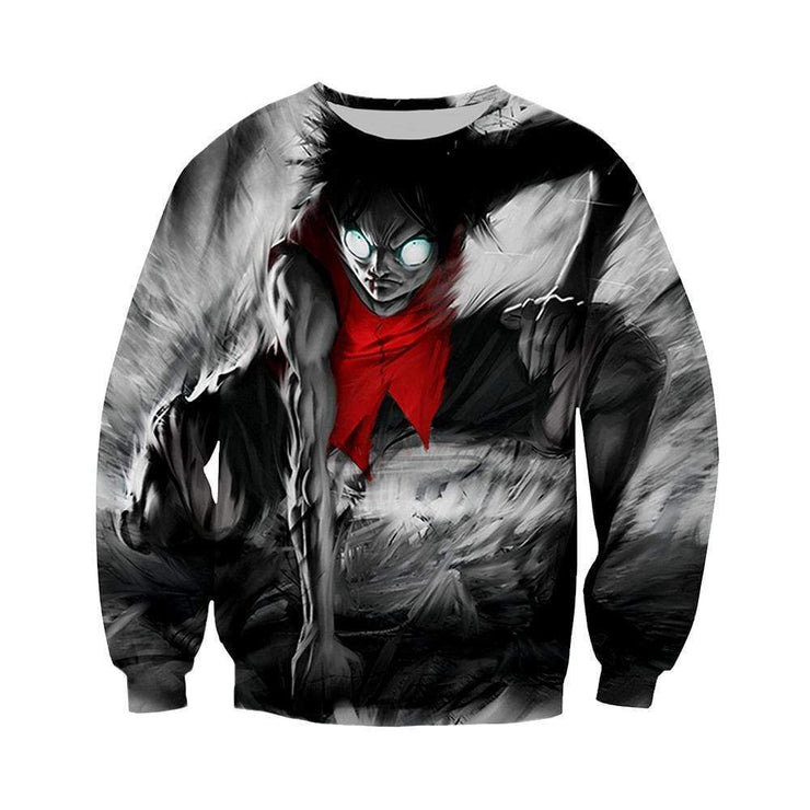Anime Merchandise Sweatshirt M One Piece Sweatshirt - Black Rage Luffy Sweatshirt