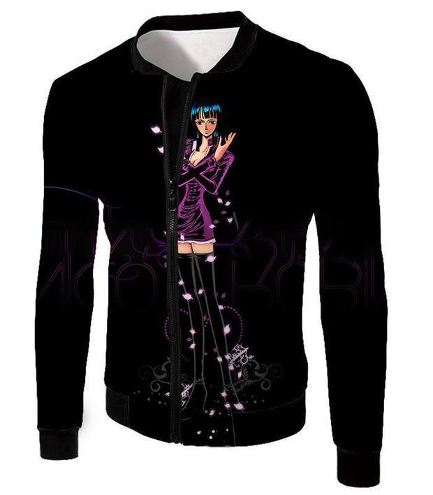 OtakuForm-OP T-Shirt Jacket / XXS One Piece T-Shirt - One Piece Oharas Devil Child Scholar Nico Robin Black T-Shirt