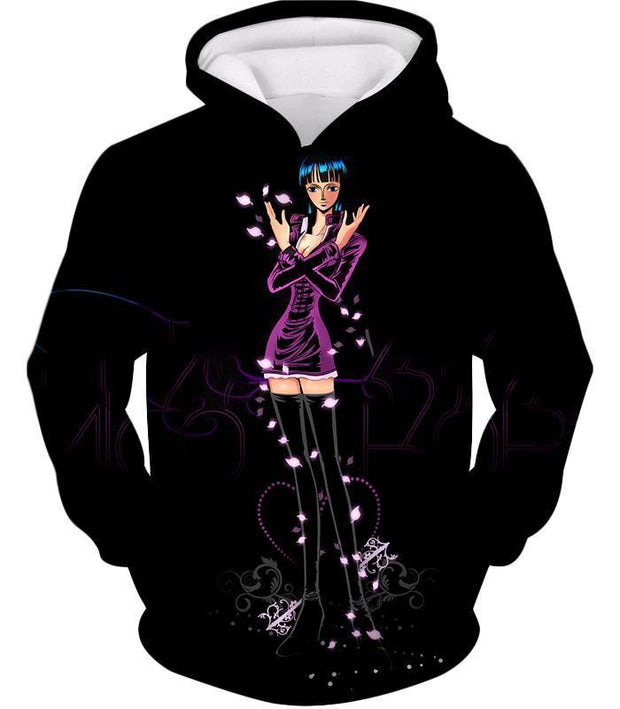 OtakuForm-OP T-Shirt Hoodie / XXS One Piece T-Shirt - One Piece Oharas Devil Child Scholar Nico Robin Black T-Shirt