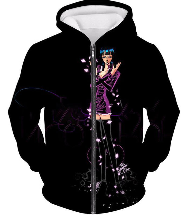 OtakuForm-OP Zip Up Hoodie Zip Up Hoodie / XXS One Piece Zip Up Hoodie - One Piece Oharas Devil Child Scholar Nico Robin Black Zip Up Hoodie