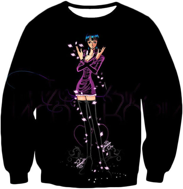 OtakuForm-OP Zip Up Hoodie Sweatshirt / XXS One Piece Zip Up Hoodie - One Piece Oharas Devil Child Scholar Nico Robin Black Zip Up Hoodie