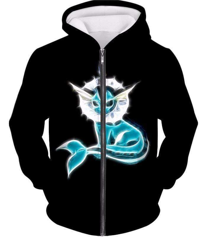 OtakuForm-OP Zip Up Hoodie Zip Up Hoodie / XXS Pokemon Cool Eevee Water Evolution Vaporeon Black Zip Up Hoodie  - Pokemon Zip Up Hoodie