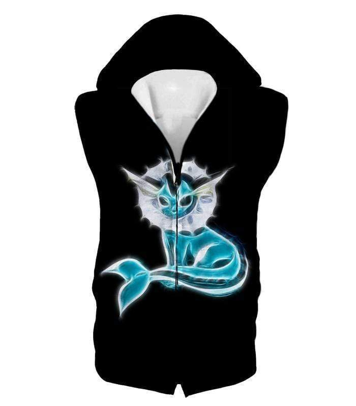 OtakuForm-OP Zip Up Hoodie Hooded Tank Top / XXS Pokemon Cool Eevee Water Evolution Vaporeon Black Zip Up Hoodie  - Pokemon Zip Up Hoodie