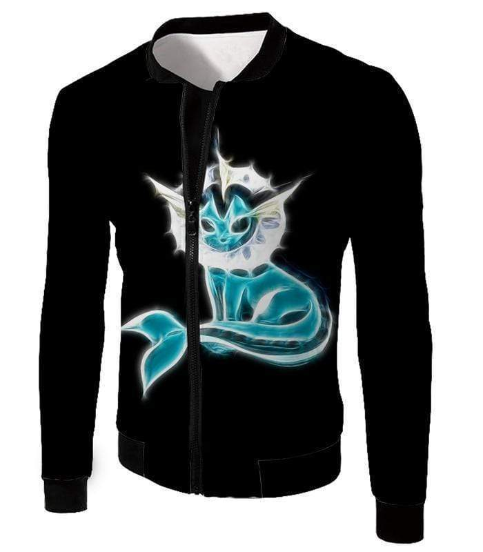 OtakuForm-OP Zip Up Hoodie Jacket / XXS Pokemon Cool Eevee Water Evolution Vaporeon Black Zip Up Hoodie  - Pokemon Zip Up Hoodie