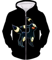 OtakuForm-OP Zip Up Hoodie Zip Up Hoodie / XXS Pokemon Eevee Dark Pokemon Evolution Cool Umbreon Black Zip Up Hoodie  - Pokemon Zip Up Hoodie