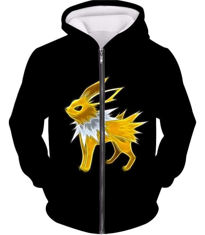 OtakuForm-OP Zip Up Hoodie Zip Up Hoodie / XXS Pokemon Eevee Thunder Type Evolution Jolteon Black Zip Up Hoodie  - Pokemon Zip Up Hoodie