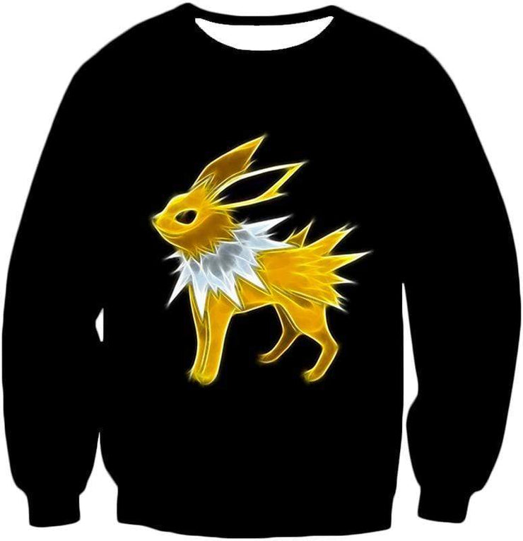 OtakuForm-OP Zip Up Hoodie Sweatshirt / XXS Pokemon Eevee Thunder Type Evolution Jolteon Black Zip Up Hoodie  - Pokemon Zip Up Hoodie