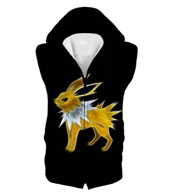 OtakuForm-OP Zip Up Hoodie Hooded Tank Top / XXS Pokemon Eevee Thunder Type Evolution Jolteon Black Zip Up Hoodie  - Pokemon Zip Up Hoodie