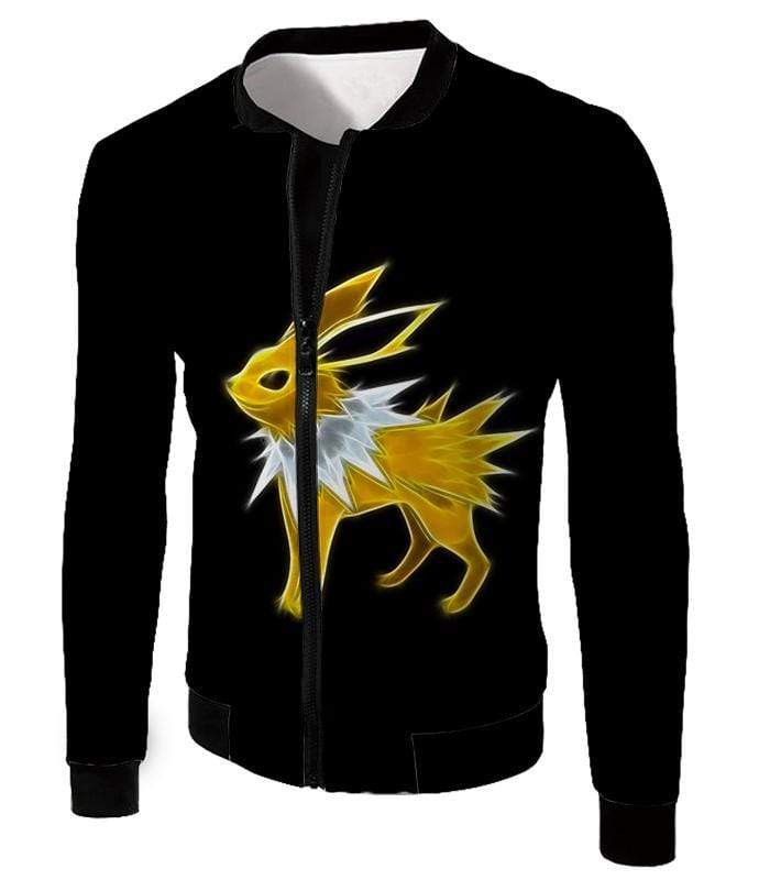 OtakuForm-OP Zip Up Hoodie Jacket / XXS Pokemon Eevee Thunder Type Evolution Jolteon Black Zip Up Hoodie  - Pokemon Zip Up Hoodie