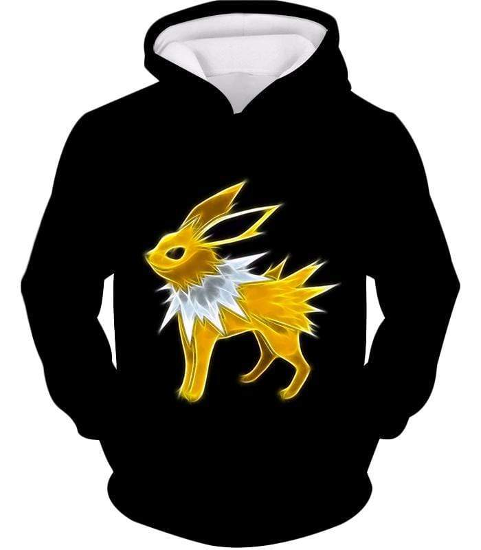 OtakuForm-OP Zip Up Hoodie Hoodie / XXS Pokemon Eevee Thunder Type Evolution Jolteon Black Zip Up Hoodie  - Pokemon Zip Up Hoodie
