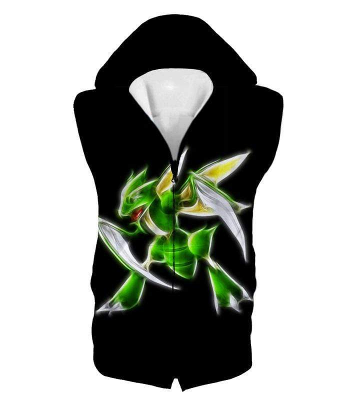 OtakuForm-OP Zip Up Hoodie Hooded Tank Top / XXS Pokemon Flying Bug Type Pokemon Scyther Cool Black Zip Up Hoodie  - Pokemon Zip Up Hoodie