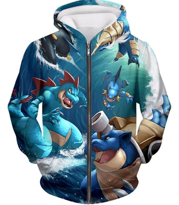 OtakuForm-OP T-Shirt Zip Up Hoodie / XXS Pokemon T-Shirt - Pokemon Awesome All Powerful Water Type Pokemons Cool T-Shirt