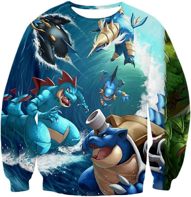 OtakuForm-OP T-Shirt Sweatshirt / XXS Pokemon T-Shirt - Pokemon Awesome All Powerful Water Type Pokemons Cool T-Shirt