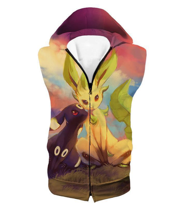 OtakuForm-OP T-Shirt Hooded Tank Top / XXS Pokemon T-Shirt - Pokemon Cute Wolf Umbreon and Leafeon T-Shirt