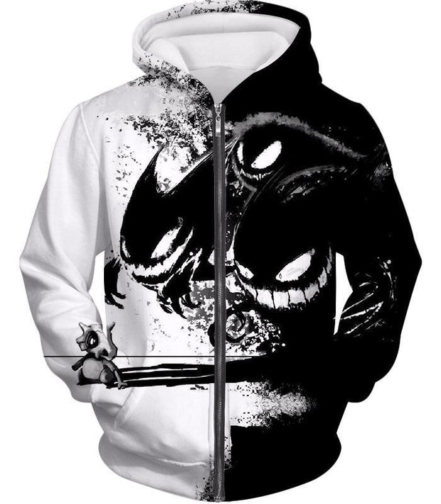 OtakuForm-OP T-Shirt Zip Up Hoodie / XXS Pokemon T-Shirt - Pokemon Ghost Pokemon Trio Haunter Gengar and Ghastly Cool T-Shirt