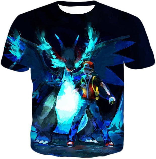 OtakuForm-OP T-Shirt T-Shirt / XXS Pokemon T-Shirt - Pokemon Powerful Ash Charizard Mega Evolution Cool Graphic T-Shirt