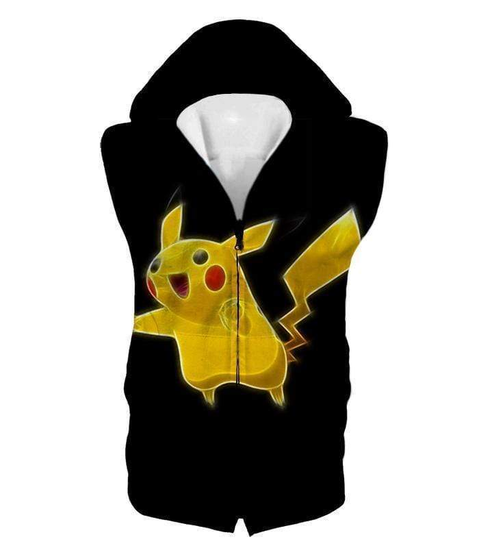 OtakuForm-OP T-Shirt Hooded Tank Top / XXS Pokemon Thunder Type Pokemon Pikachu Cool Black T-Shirt  - Pokemon T-Shirt