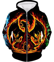 OtakuForm-OP Zip Up Hoodie Zip Up Hoodie / XXS Pokemon Zip Up Hoodie - Pokemon Amazing Fire Type Charmander Evolution Tree Zip Up Hoodie