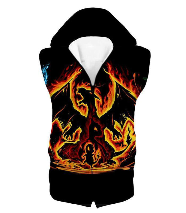 OtakuForm-OP Zip Up Hoodie Hooded Tank Top / XXS Pokemon Zip Up Hoodie - Pokemon Amazing Fire Type Charmander Evolution Tree Zip Up Hoodie