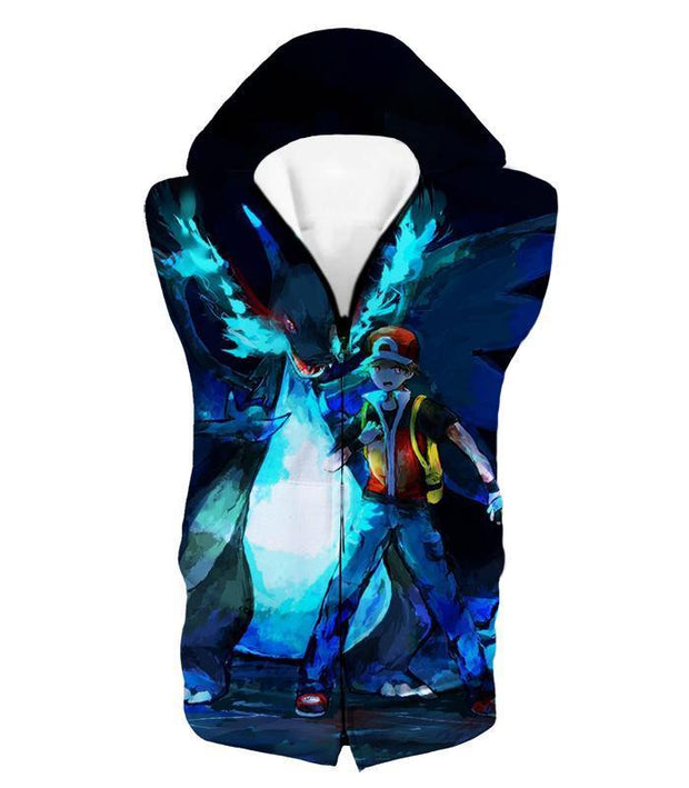 OtakuForm-OP Zip Up Hoodie Hooded Tank Top / XXS Pokemon Zip Up Hoodie - Pokemon Powerful Ash Charizard Mega Evolution Cool Graphic Zip Up Hoodie
