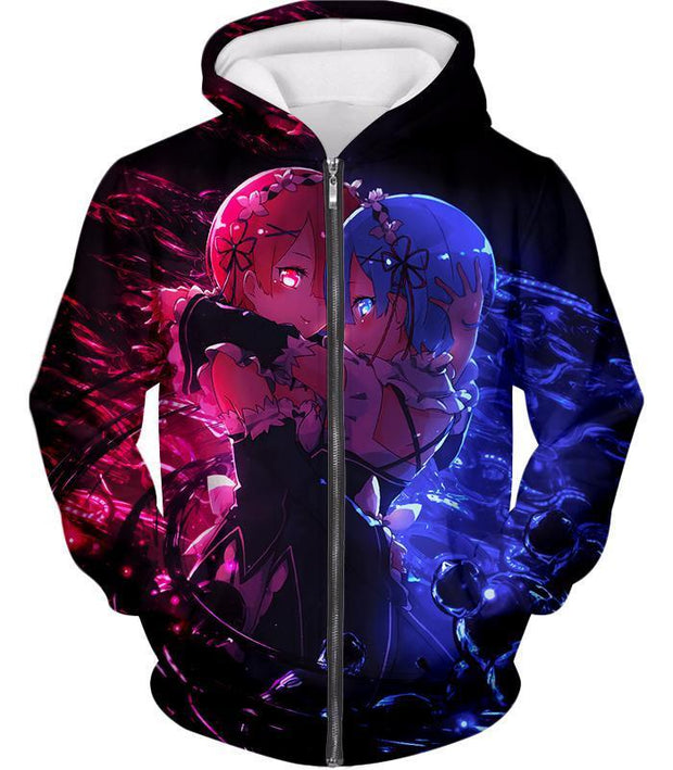 OtakuForm-OP Hoodie Zip Up Hoodie / US XXS (Asian XS) Re:Zero Wonderful Anime Twin Maids Rem and Ram Cute Black Hoodie - Re:Zero Anime Hoodie