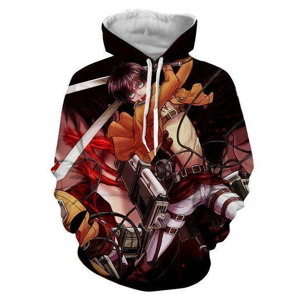 Attack On Titan Hoodie XXS Shingeki No Kyojin Eren Yeager Edition - Attack On Titan 3D Hoodie