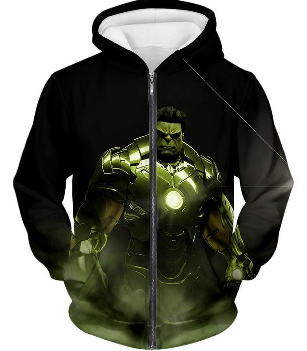 OtakuForm-OP Zip Up Hoodie Zip Up Hoodie / XXS Super Hulk in Iron Mans Hulkbuster Suit Black Zip Up Hoodie