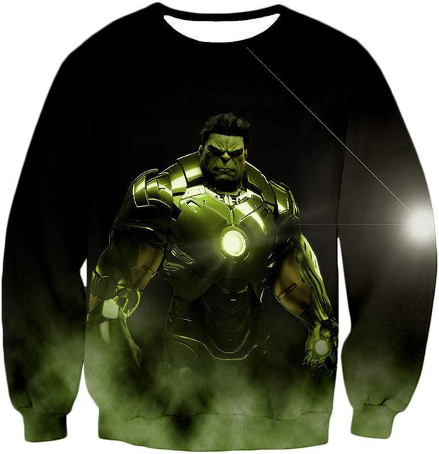 OtakuForm-OP Zip Up Hoodie Sweatshirt / XXS Super Hulk in Iron Mans Hulkbuster Suit Black Zip Up Hoodie