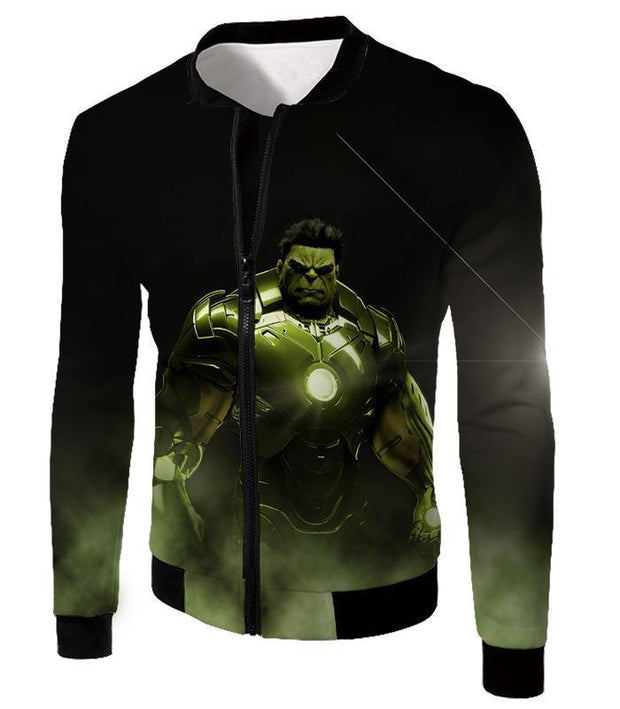 OtakuForm-OP Zip Up Hoodie Jacket / XXS Super Hulk in Iron Mans Hulkbuster Suit Black Zip Up Hoodie