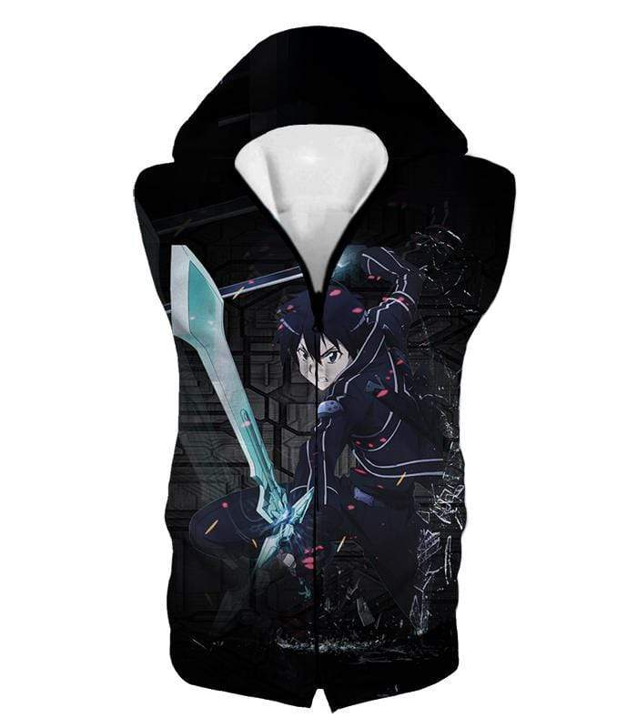 OtakuForm-OP Zip Up Hoodie Hooded Tank Top / XXS Sword Art Online Awesome Kirito Cool Sword Action Anime Graphic Zip Up Hoodie