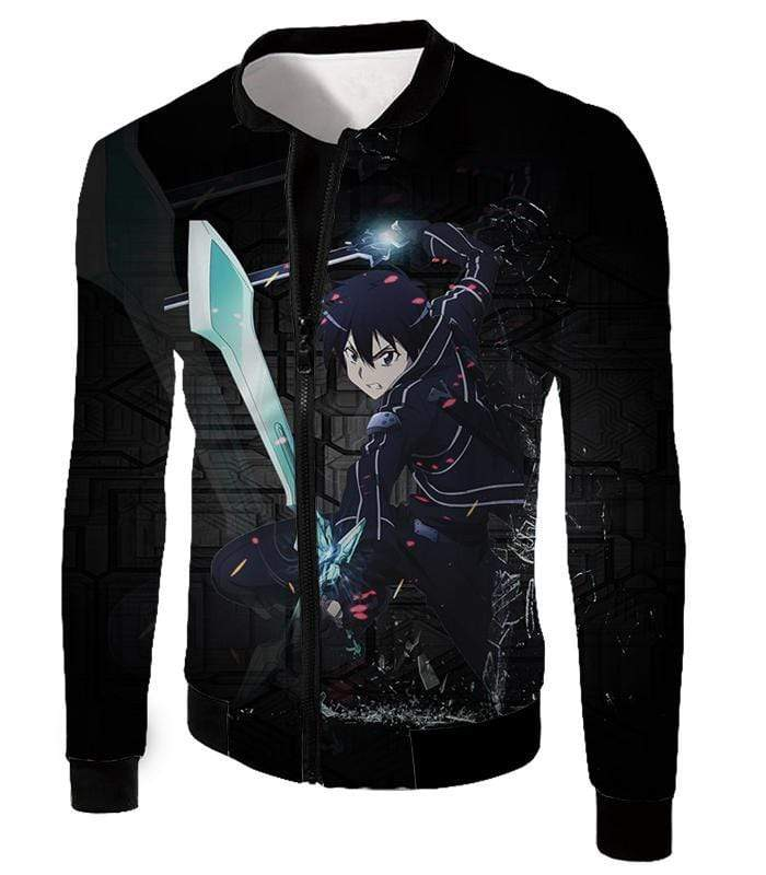 OtakuForm-OP Zip Up Hoodie Jacket / XXS Sword Art Online Awesome Kirito Cool Sword Action Anime Graphic Zip Up Hoodie