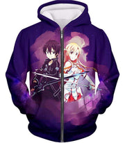 OtakuForm-OP Zip Up Hoodie Zip Up Hoodie / XXS Sword Art Online Best Anime Couple Kirito and Asuna Cool Action Anime Zip Up Hoodie