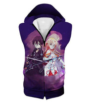 OtakuForm-OP Zip Up Hoodie Hooded Tank Top / XXS Sword Art Online Best Anime Couple Kirito and Asuna Cool Action Anime Zip Up Hoodie