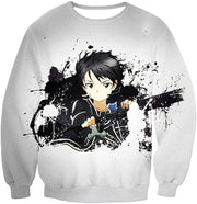 OtakuForm-OP Sweatshirt Sweatshirt / XXS Sword Art Online Cool Hero Kirigaya Kazuto aka Kirito Action White Sweatshirt - Sword Art Online Sweater